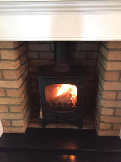 Wood burner installation example
